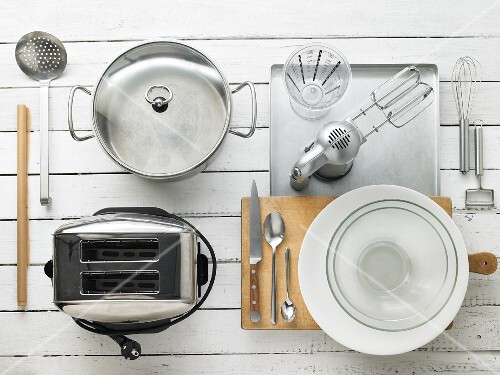 Kitchen utensils for making cheese on toast