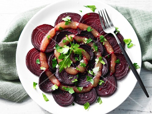 Beetroot carpaccio with apple sauce