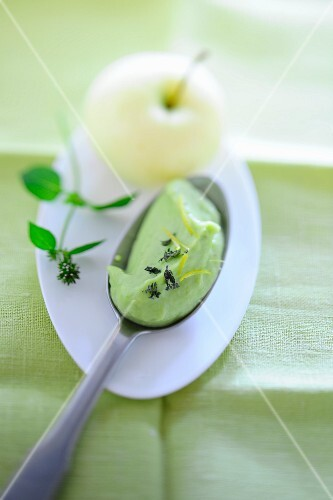 A spoonful of avocado and apple ice cream