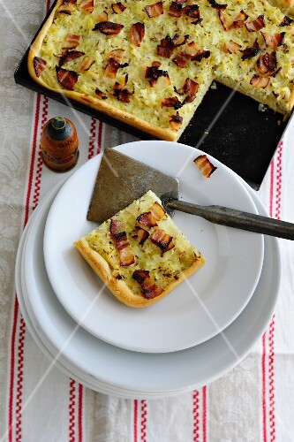 Onion cake with bacon, sliced