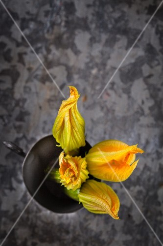 Courgette flowers in a bowl