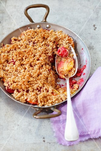 Nectarine and raspberry crumble