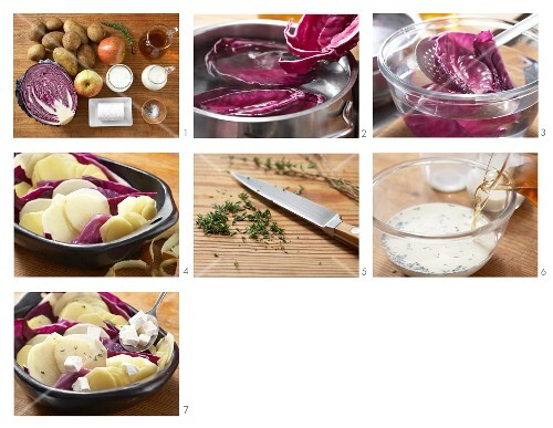 Potato and apple gratin with goat's cheese being made