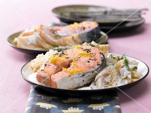 Marinated salmon on a fennel medley