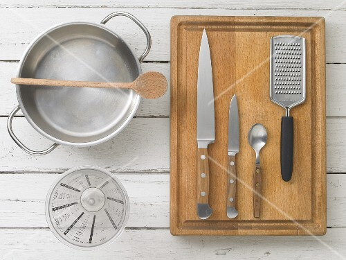 Kitchen utensils for making pasta with vegetables