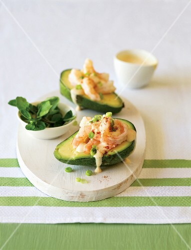 Avocado with shrimps and mayonnaise dressing