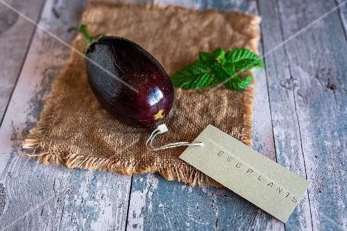 An aubergine with a label