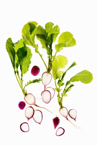 Radishes and radish leaves
