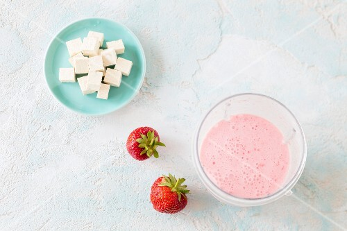 A strawberry smoothie with silken tofu