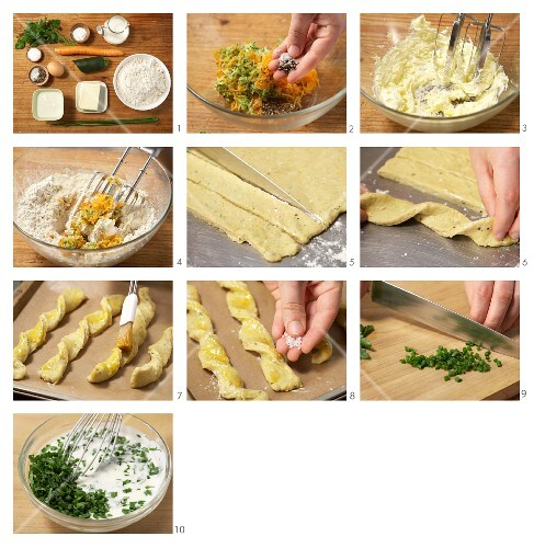 Baked vegetable sticks with herb yoghurt being made