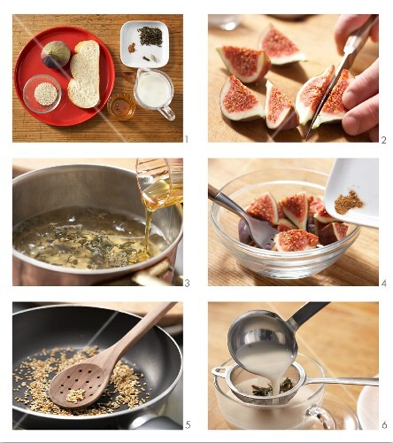 Spiced tea served with fig and sesame seed bread being made