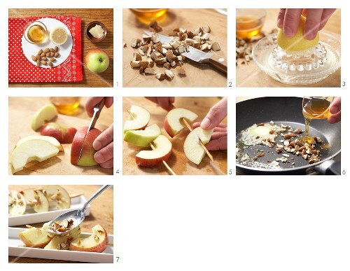 Apple kebabs with almond caramel being made