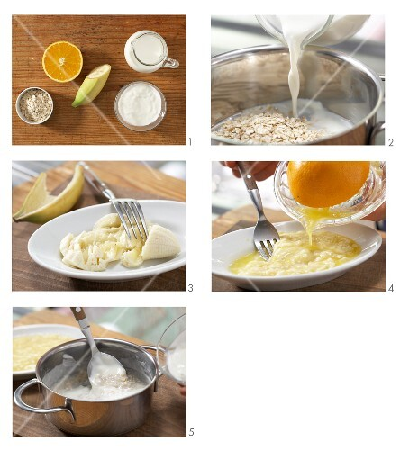 Porridge with bananas and orange juice being made