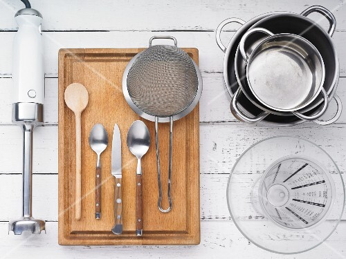 Kitchen utensils for making sweet pasta with damson compote