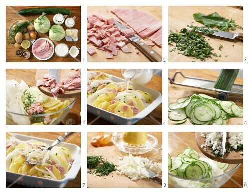 How to prepare potato and kohlrabi bake with cooked ham