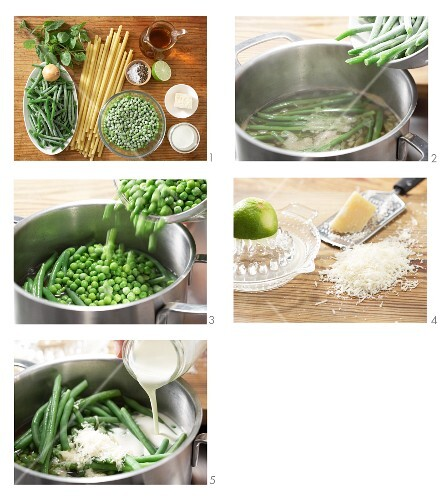 Pea and bean ragout with soya cream and Grana Padano being made