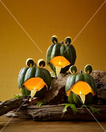 Pumpkin frogs as Halloween decoration