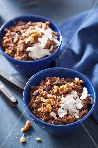 Quinoa muesli with chocolate, nuts and grated coconut