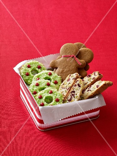 Various Christmas biscuits in a gift box