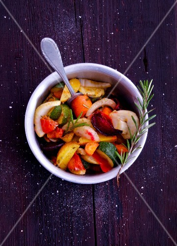 Oven-roasted vegetables with rosemary