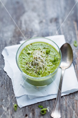 Cold spinach and fennel soup with alfalfa sprouts