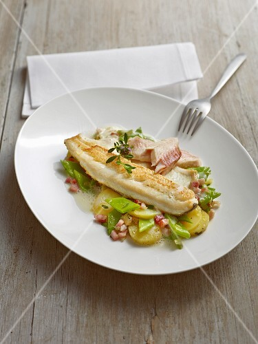 A duo of trout with sliced broad beans and new potatoes