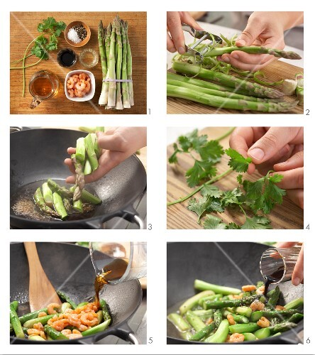 How to prepare green asparagus with prawns