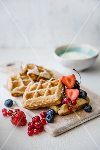 Waffles with fresh berries and yoghurt