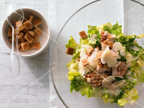Cos lettuce with lemon escalope, croutons and Parmesan