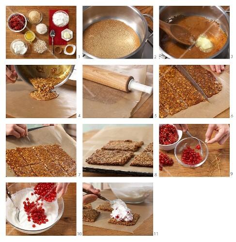 How to prepare redcurrant quark on amaranth crackers