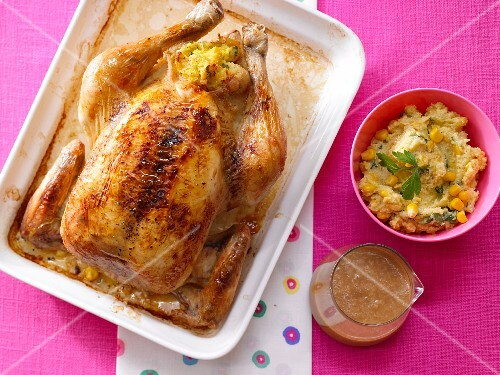 Roast chicken with polenta stuffing