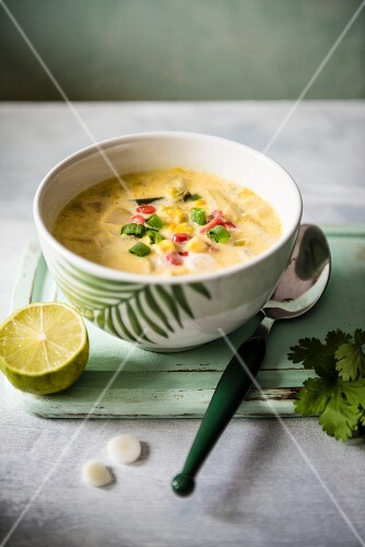 Sweetcorn and coconut soup with lime and coriander