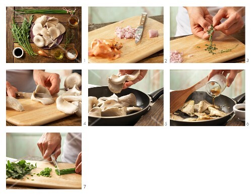 How to prepare oyster mushroom salad with rocket and chives