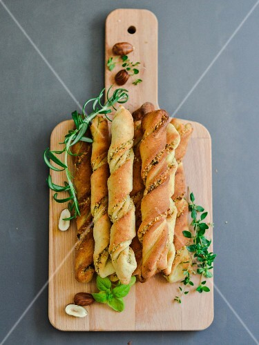Twisted doughsticks with herbs andt toasted hazelnuts