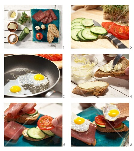 How to prepare Strammer Max: bread topped with a fried egg, Grisons air-dried beef and cress
