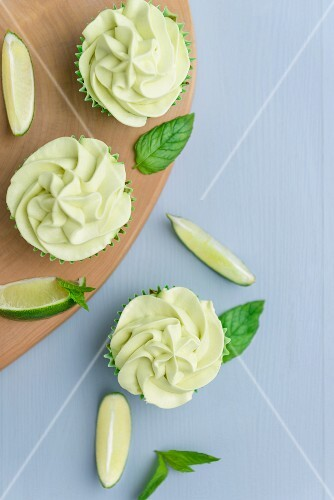 Lime cupcakes with lime frosting (seen from above)