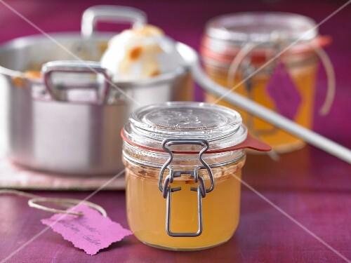 Elderflower jam in jars