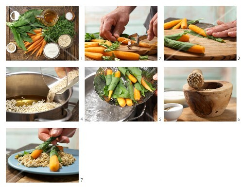 How to prepare steamed wild garlic & carrots with quinoa