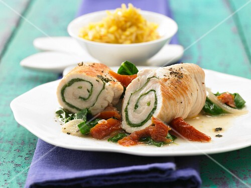 Turkey roulades with leaf spinach