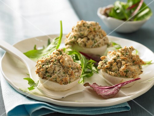 Baked May turnips with a sesame seed crust