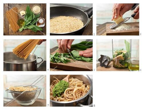 How to prepare spaghetti with wild garlic and almond pesto