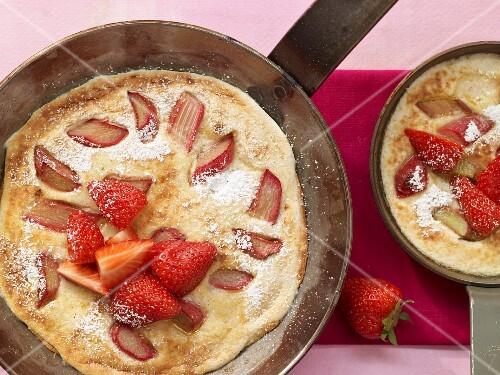Semolina pancakes with rhubarb and strawberries