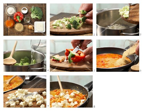 How to prepare confetti couscous with feta and vegetables in a creamy sauce