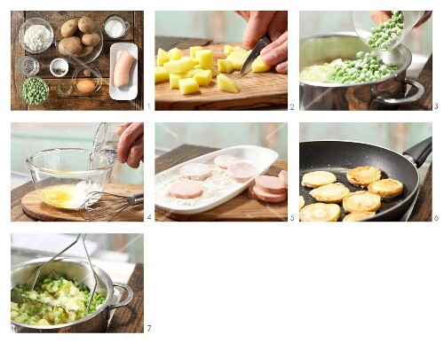How to prepare pan-fried sausage slices with pea & potato purée