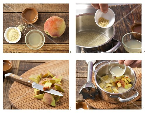How to prepare couscous purée with peach