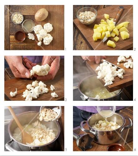 Preparing porrige with cauliflower