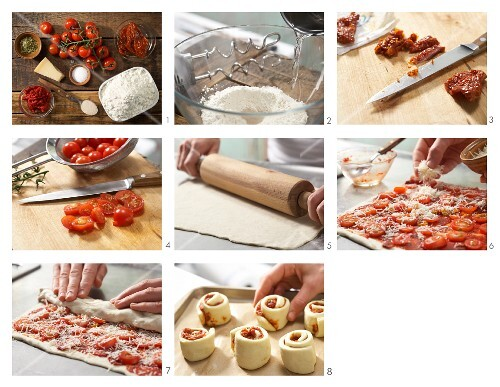 How to make pizza swirls with tomatoes