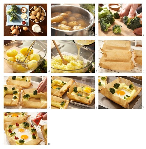 How to prepare eggs in a potato nest