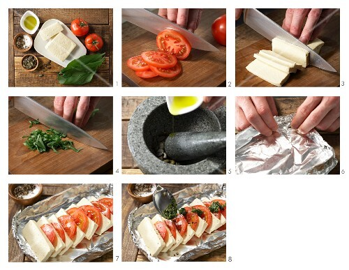 How to prepare barbecued tofu and tomato