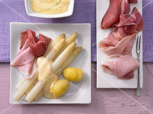 Asapargus with lime hollandaise and a ham platter